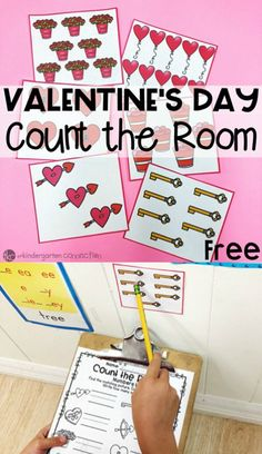 Valentine's Day Count the Room Printable Math Center This free Valentine's Day Count the Room is ideal for math centers, a whole group math activity, [. Valentines Day Activities, Valentine Crafts, Valentines Crafts For Kindergarten, Valentine Theme, Printable Valentine, Valentine Ideas, Kindergarten Math Activities, Kindergarten Classroom, Maths