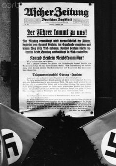 The image from the Nazi Propaganda shows the newspaper of Asch of 2 October 1938 that announced the arrival of Adolf HItler in Asch on 3 October 1938, after the Munich Agreement of 29 September 1938. Photo: Berliner Verlag/Archiv