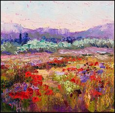 Wildflower floral landscape oil painting by artbymarion