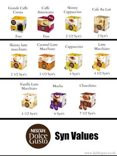 Slimming World Nescafe Dolce Gusto Capsule Syn Values Slimming World Syns List, Slimming World Syn Values, Slimming World Treats, Slimming World Recipes Syn Free, Slimming Eats, Slimming World Chicken Satay, Cappuccino Cafe, Skinny Latte, Slimming Coffee