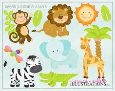 Safari Jungle Animals Cute Digital Clipart for by JWIllustrations