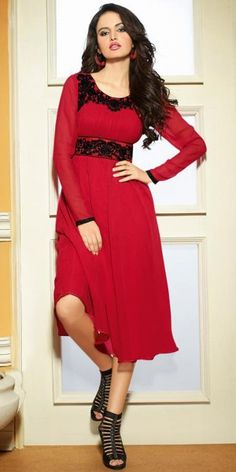 0ea821b87881 Alluring maroon georgette stylish embroidery kurti is having enhanced look  with black embroidered patch work and fine frock style design at bottom.