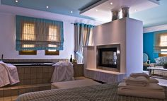 mikros vorias small luxury suites greece Jacuzzi, Boutique Hotels, Greece, Curtains, Luxury Suites, Home Decor, Lush, Greece Country, Blinds