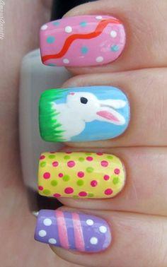 Polka Dot & Bunny Nail Designs for Easter, Holiday Nail Art Ideas, Easter Bunny Nails