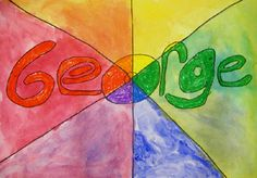 Student reviewed the color wheel and why it is arranged in that particular order. They then drew their name in bubble letters. They divided their drawing into six sections )one for each color on the color wheel) and colored in their name using oil pastels. They were then given Red, Yellow, and Blue paint and they used those three colors to mix and create all the colors on the color wheel.
