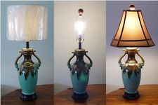 ELEPHANT TABLE LAMP, CERAMIC Teal and Brown 30 inches Tall