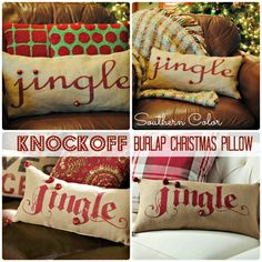 Knock Off Burlap Pillow  #SouthernColor #Christmas