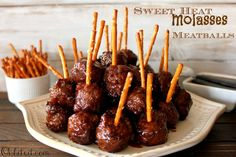 sweet heat molasses meatballs