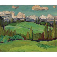 J.E.H. Macdonald - Limestone Hillside 8.5 x 10.5 Oil on board Tom Thomson, Group Of Seven, Auction, Fine Art, Landscape, Oil, Painting, Board, Collection