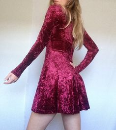 Vintage Wine Velvet Dress | Burgundy | Purple | Red | Button Up | Long Sleeve…