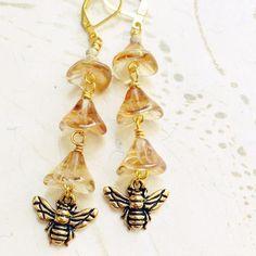 Gold Bee Goddess Earrings