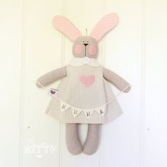 Bunny with bunting  baby girl nursery  newborn decoration