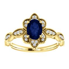 NEW! Chatham® Created Blue Sapphire & Diamond Vintage Inspired Ring. Click through for product details or to locate a jeweler near you! #HowIStuller