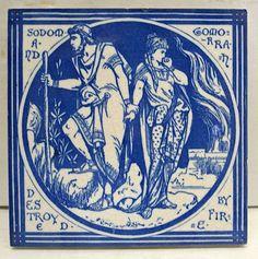 Mintons John Moyr Smith Old Testament Antique Tile-Sodom & Gomorrah