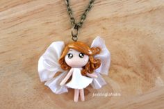 Fairy Necklace  Polymer Clay  Golden Hair Girl by PuddingFishCakes, $20.00