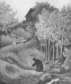 In Scandinavian folklore, Pesta is a traveling old woman and the personification of the Plague. If she comes to your house with a rake, some of the family may live. But if she comes with a broom, you're all doomed (Illustrations by Theodor Kittelsen) Most Popular Artists, Great Artists, Theodore Kittelsen, Black Death, Art Database, Nature Paintings, Folklore, Dark Art, Illustrators