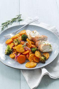 Geroosterde aardappeltjes en groenten met gevulde kip uit de Airfryer - Leuke recepten Air Flyer, Ratatouille, 1, Healthy, Ethnic Recipes, Food, Essen, Yemek, Meals