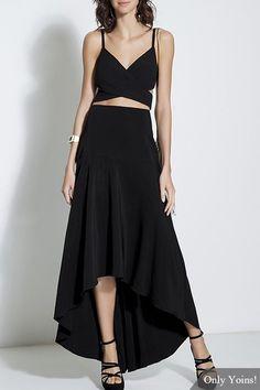 Black Cami Top & Asymmetric Skirt - US$25.95 -YOINS