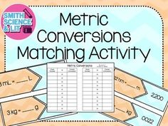 A great activity for practicing metric conversions! Students will match the problem with the correct solution - similar numbers included on purpose to add challenge! This product includes: - 20 metric conversion matching cards (with the option to print in color OR black and white)- Student record sheet A wonderful science center during your metric unit, a great partner activity, small group, or even for differentiation in your class!