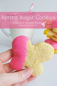 Spring Sugar Cookies dipped in melted chocolate is the perfect to welcome in the start of a new season. Grab a glass of milk and let's bake cookie from Walking on Sunshine Recipes. Sugar Cookie Recipe Easy, Easy Sugar Cookies, Delicious Cookie Recipes, No Bake Cookies, Cupcake Cookies, Wilton Candy Melts, Parchment Paper Baking, Melted Chocolate, Icecream Bar