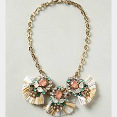 Anthropologie bib necklace Gorgeous jeweled and raffia bib necklace from anthropolgie Anthropologie Jewelry Necklaces