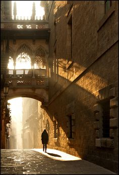 light in a street of barcelona