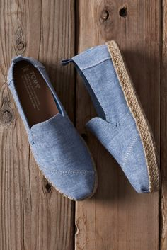 Blue Slub Chambray Women's Deconstructed Alpargata Espadrilles. The vegan chambray texture, minimalist structure and espadrille sole make these TOMS a comfortable slip-on.
