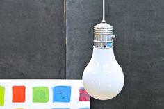 USA, c.1960s. Vintage Modern Pop Art Light Bulb Pendant Lamp, American copy of the Famous Ingo Mauri Giant Lightbulb. Fully functional.    Dia: 7½ x H: 14 in.