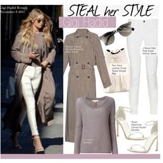 Steal Her Style- Gigi Hadid by kusja on Polyvore featuring IRO, Raquel Allegra, J Brand, Stuart Weitzman, Tom Ford, Ray-Ban, Stealherstyle, celebstyle and gigihadid