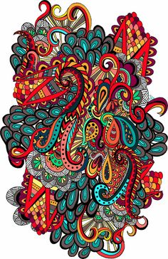 Colorful doodle, zentangle, arches ~ the fall of the scorpions Art Print