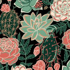 Succulents + Roses Fabric - Succulents And Roses By Torysevas - Succulent Flower Botanical Floral Cotton Fabric By The Metre by Spoonflower Textile Pattern Design, Surface Pattern Design, Succulents Wallpaper, Watercolor Painting Techniques, Plant Illustration, Diy Canvas Art, Illustrations Posters, Spoonflower, Floral Prints