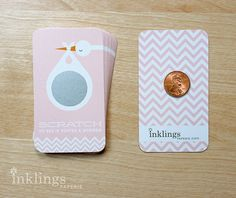 24 Scratch Off Cards for Baby Shower Game // Stork in Blush Pink on Etsy, $12.00
