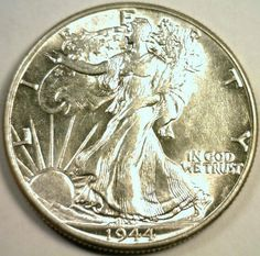 1944-P 90% Silver Beautiful Choice Walking Liberty AU Silver Beautiful Coin by riggsbyscorner, $49.00