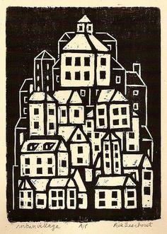 Urban village by Rick Beerhorst (woodblock print)