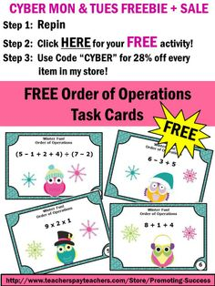 Order of operations thanksgiving math and task cards on pinterest