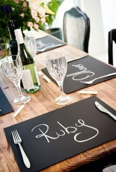 Love this easy placemat idea. Just recover your tired old placemats with a sheet of Wallies chalkboard vinyl. Fast and simple to do.