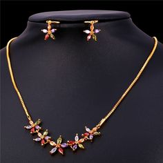 Zirconia Crystal Flower Jewelry Earrings And Necklace Set Gold Color Bridesmaid/Wedding Crystal Jewelry Set Women NE252