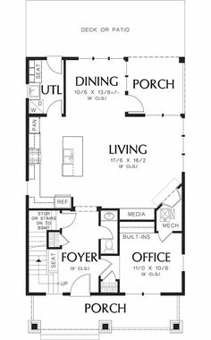 Craftsman Style House Plan - 3 Beds 2.5 Baths 1925 Sq/Ft Plan #48-489 - Houseplans.com Building Plans, Building A House, Craftsman Style House Plans, Craftsman Homes, Floor Layout, Patio Seating, Open Plan Kitchen, Home Projects, How To Plan