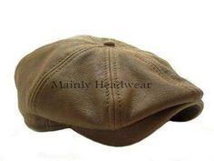 STETSON Leather IVY cap Mens Newsboy hat Golf BROWN GATSBY Cabbie driving MEDIUM
