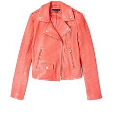 Theory Orange Elenian Textured Leather Biker Jacket (35.255 RUB) ❤ liked on Polyvore featuring outerwear, jackets, tops, coats, motorcycle jacket, orange motorcycle jacket, biker jacket, red moto jacket and theory jacket