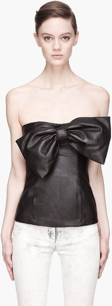 Leather Bow Top - Lyst