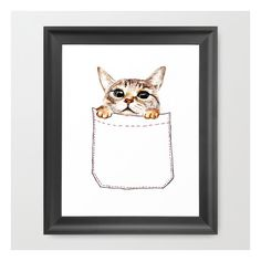 Pocket Cat Framed Art Print (205 DKK) ❤ liked on Polyvore featuring home, home decor, wall art, framed art prints, cat face painting, animal paintings, acrylic painting, animal face painting and black paintings