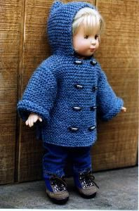 "Knitting Pattern Garter Coat for 18"" Doll American Girl 