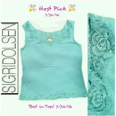 🎉HP 7/30/16 BEST IN TOPS🎉 SIGRED OLSEN TOP SIGRED OLSEN SPORT BABY BLUE LACE TOP 95% RAYON 5% SPANDEX MACHINE WASHABLE SIZE SMALL Sigrid Olsen Tops Tank Tops