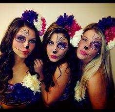 Sugar Skull Halloween Costume! Girl group halloween costume! Sexy Cute! Sugar skull makeup. Flower headbands