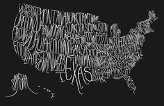By popular demand, the Typographic Map of the US print is now available in a fun sized version! Half the size, twice the awesome. United States Map, 50 States, Hand Drawn Type, Hand Type, Us Map, Looks Cool, Typography Design, Typography Fonts, How To Draw Hands