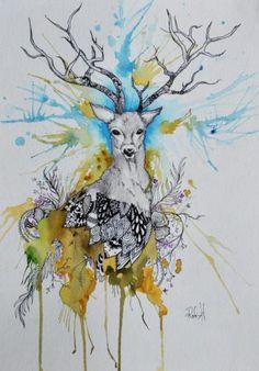 Art, Deer, Buck, Tree, Hunter, Hunting, wildlife, Watercolor, Outdoors, nature