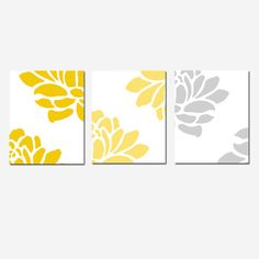 Floral Trio  Set of Three 8 x 10 Prints  Gray and by Tessyla, $55.00