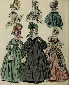 The World of Fashion and Continental Feuilletons 1838 - Plate 55 - Morning Dresses Victorian Era, Victorian Fashion, Vintage Fashion, Historical Costume, Historical Clothing, Fashion History, World Of Fashion, Fashion Fashion, Morning Dress