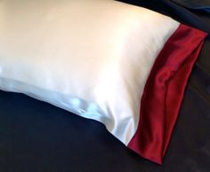 Silk Pillowcase Ivory and Burgundy 19mm by AdorabellaBaby on Etsy, $42.99